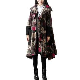 Wholesale Floral Velvet Coat - Winter Coats for women Long sleeve Lapel Neck Cotton linen With velvet Women Parkas Picture color