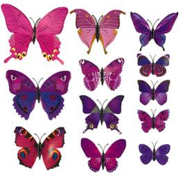 Wholesale Diy Fridge Magnets - Wholesale- BornIsKing 12Pcs Lot 3D PVC Magnet Double Butterflies Fridge Magnet DIY Wall Sticker Home Decor New Arrival
