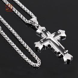 Wholesale Titanium Cross Necklace Men - Fashion Personality Men Women Titanium Steel Cross Wing Pendant Fashion Black Silver Titanium Steel Cross Pendant Men's Necklace Chain