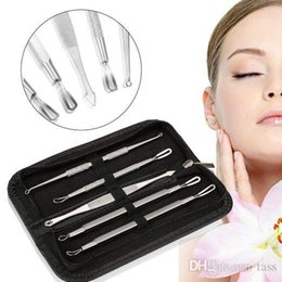 Wholesale Blackhead Comedone - 5PCS Stainless Blackhead Comedone Acne Blemish Extractor Remover Cosmetic Tool Stainless Needles Remove Tool Skin Care Beauty