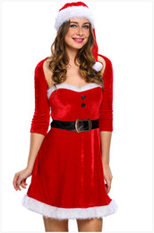 Wholesale Erotic Role Play Costumes - Good Quality Sexy Christmas Dress Cosplay Costumes Hollow Out Erotic Role Play Fantasias Including Hat And Belt