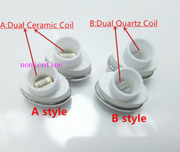 Micro g keramikspule online-Micro G Elipe Zerstäuber Spulen Dual Quarz Spulenkopf Keramikstab für Elips Wachs Stift E Zigarette Micro Gpen Doppelstab Spule
