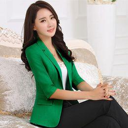 Chaquetas blancas coreanas online-Blazer mujer 2017 nuevas mujeres coreanas delgadas blazers y chaquetas más el tamaño verde negro blanco casual señoras chaqueta de traje de un botón