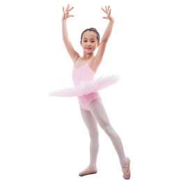 Wholesale Yellow Performance Tutu - Child Blue Yellow Pink Ballet Tutu Leotard Dress Girls Ballerina Stage Performance Costume Kids Practice Training Tutu Dancewear