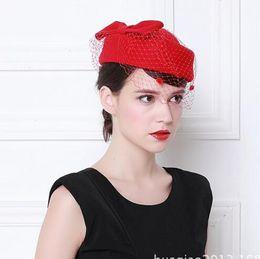 Wholesale Wool Felt Fascinator - 2017 hot sale prom party hats British style 100% wool felt bridal hat Ms. head flower tide hats for women
