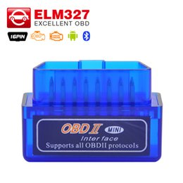 Wholesale Obdii Bluetooth Torque - Wholesale-Super ELM327 v2.1 Mini ELM 327 Bluetooth OBDII OBD-II OBD2 Protocols Auto Diagnostic Tool Works on Android Torque Free shipping