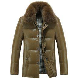 Wholesale real leather jacket men - Wholesale- Winter Men's Genuine Leather White Duck Down Jacket Real Fox Fur Collar Men Fashion Natural Sheepskin Parka Coats manteau homme