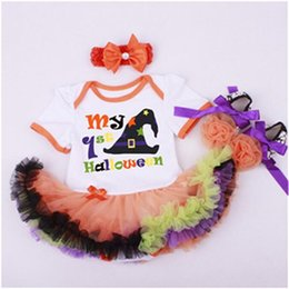 Wholesale Onesie Dresses - Halloween Newborn Baby Clothes ,My 1st Halloween Pumpkin Dress ,Baby Tutu Onesie ,Toddler Girl Outfit ,Baby Suit Tutu Romper With headband