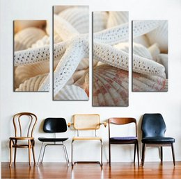 Wholesale Shell Oil Paintings Modern - Modern Beach Shell Canvas Painting On Canvas White Starfish Oil Paintings Wall Pictures For Living Room