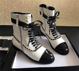 Wholesale Western Boot Chains Black - Women Winter Boots Genuine Leather Chunky Shoes Chain Pumps Spring Autumn Slip on Leather Luxurious Brand White Boots Sneakers