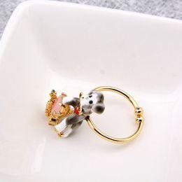 Wholesale Enamel Glaze Rings - Les Nereides animal series enamel glaze cute dog gem small flower ring cute dog rings wholesale free shipping