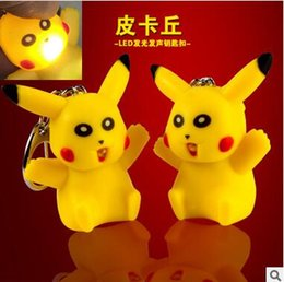 Wholesale Keychain Light Luminous - 2016 3D Cartoon Pocket Poke Mon Pikachu LED Light Keychain Luminous Key Chain Ring Flashlight Torch Sound Toy Promotion Lover Children gift