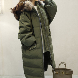 Wholesale Real Fur Trimmed Coats Women - New 2016 Winter Coats Women Jackets Real Large Raccoon Fur Collar Thick Ladies Down & Parkas army green Outwear Fur Coats