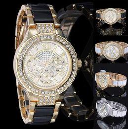 Wholesale Womens Gold Diamond Bracelet - Free shipping Luxury Brand Watches Womens Diamonds Watches Brand Date 3 Eyes Women Bracelet Ladies Designer Wristwatches