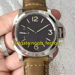 Wholesale Liberty Round - Free shipping Luxury ETA6497-2 Hand-Winding Mechanical SS Men's Watch New York Liberty PAM417 44mm Black Dial Leather Strap Top quality