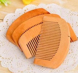 Wholesale wooden hair brushes - 100Pcs Wooden Comb Natural Health Peach Wood Anti-static Health Care Beard Comb Pocket Combs Hairbrush Massager Hair Styling Tool