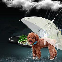 Wholesale Dog Umbrellas - Original Top Transparent PE Pet Umbrella Small Dog Umbrella Rain Gear with Dog Leads Keeps Pet Dry Comfortable In Rain Snowing