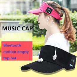 Wholesale Music Bowl - The Summer Hat Visor Cap mobile phone Bluetooth stereo headset music outdoor peaked cap