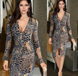 Wholesale Sexy Business Casual Dresses - Sexy Split Evening Dresses New Fashion 2016 Leopard grain Long Sleeve Women Dress Elegant Business Party Prom Silm Bodycon Dress