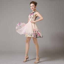 Wholesale Short Chiffon One Shoulder - Short Evening Dress 2016 New Fashion Slim Chiffon One Shoulder Printing Flower A-line Plus Size Bride Banquet Sweet Prom Dresses