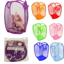Wholesale Laundry Eco Bags - Wholesale- New Qualified New Foldable Pop Up Washing Clothes Laundry Basket Bag Hamper Mesh Storage Levert Dropship dig634