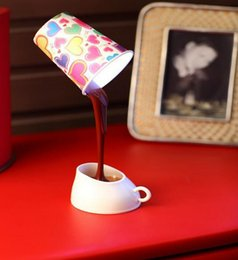 Wholesale Mood Cups - Decorate Lamp Coffee Table Night Mood Lights Cup Dual Led 2016 Lamparas De Mesa Table Lamps Diy Lampshade USB Battery
