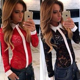 sexy modèles féminins noirs Promotion Gros-Livraison gratuite nouvelle automne et hiver 2016 modèles d'explosion sexy dentelle noire et rouge ajourée couture chemise personnalité féminine