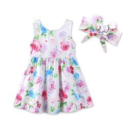 bébé filles robe été floral robes mignon gilet pour bébé jupe bébé filles robe + bandeau 2pcs set vêtements pour enfants Z11 ? partir de fabricateur