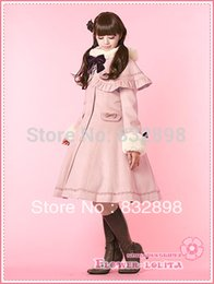 Wholesale Trench Coat Girl Sale - Wholesale-Hot Sale Japan Cheap Custom made Pink Wool Hooded Sweet Lolita Coat Girls Winter Coats Brand Long Winter Trench Coat