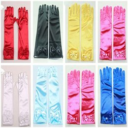 Wholesale Gifts For Children S Party - Kids Children Girls Long Gloves For Princess bowknot Elsa Anna Cosplay Nylon Dance Stage Performance Party Gloves XMAS Gifts the_one
