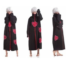 Wholesale Naruto Cosplay Costume Akatsuki - Fashion Free Shipping to world FS Promotion New Anime Costumes Naruto Akatsuki Cosplay Cloak Size S M L XL XXL top sale superb!