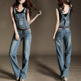 Wholesale Straight Loose Jumpsuit - Newly Denim Overalls Women Casual Mid Waist Suspender Trousers Loose Jeans Jumpsuits Breathable Straight Long Pants XK0311