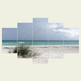Wholesale wall decor panels beach - (No frame) Beach series HD Canvas print 5 Panel Wall Art Oil Painting Textured Abstract Pictures Decor Living Room Decoration