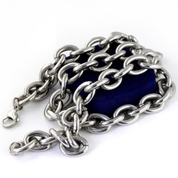 """Wholesale Stainless Steel Bracelet 15mm - 18-40"""" Super Heavy Stainless steel Men's Round Chain Necklace bracelet 15mm charm"""