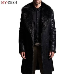 Wholesale Reversible Trench Coat - New Style Men's Trench Coat Autumn Winter Reversible Jacket Men Fur long Jackets Casual Trench Overcoat Casaco Jaqueta Masculino