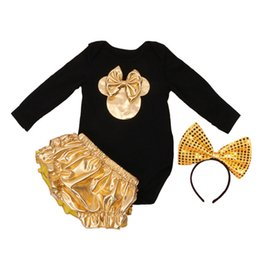 Wholesale Mouse Baby Suit - Wholesale- Newborn Cotton Mouse Clothes Set Kids Suits Black And Gold Romper+Bloomers+Headband 3 Pcs Baby Brand Baby Girl Clothing Sets