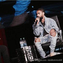 Wholesale Jean Hot Pants - New Hot Fashion 2018 Fear of God FOG zippers skinny slim fit mens Distressed justin bieber black cotton Denim jeans men jean
