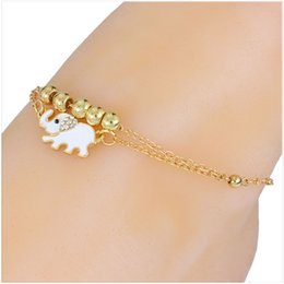 Wholesale Crystal Sandals For Women - 2016 New Gold Chain Charm Crystal Elephant Anklet For Women tornozeleira pulseras tobilleras Mujer Barefoot sandals Foot Jewelry