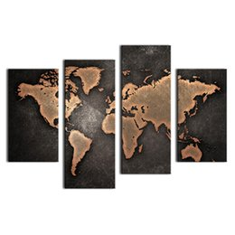 Wholesale Oil Paint Map - 4 Paenl Wall Art Brown Background World Abstract Map Painting Print On Canvas For Home Wall Decor with Wooden Framed