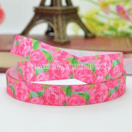 "Wholesale Ribbon 9mm Flower - HOT NEW 3 8"" 9mm Pink Rose Flowers Printed Grosgrain Ribbon DIY Bow Material Ribbons Sewing Supplies Tape Scrapbooking 50 Yards"