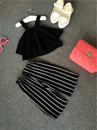 Wholesale Baby Girl Black Outfit - Baby Clothes Girl Chiffon Sleeveless T-shirts Stripe Pants 2 PCS Kids Summer Outfit 5 p l