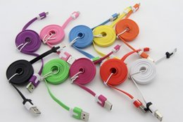 Wholesale I Phone Flat Charge - Good Quality Micro USB Charger Cable Sync Data Charging 1M 3FT Flat Noodle I Cord For Samsung Galaxy S4 S6 S7 Plus Note 4 5 6 7 Mobile Phone