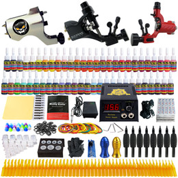 Wholesale Complete Tattoo Guns - Solong Tattoo® Complete Tattoo Kit 3 Pro Rotary Tattoo Machine Guns 54 Inks Power Supply Foot Pedal Needles Grips Tips TK355