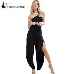 Wholesale Vogue Tie - Wholesale- Vogue Women Jumpsuits Tied Belted Waist Wide Leg Pants Asymmetric Leg Opening Slash Neck Long Jumpsuit Black Trousers M17022723