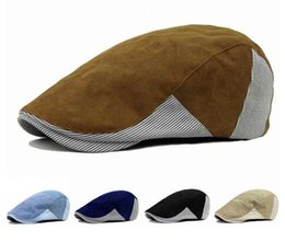 Wholesale Beret Men - Adult Unisex Cotton Berets Cap Adjustable Stripe Patchwork Design Duckbill Newsboy Hat for Men Woman CS-113