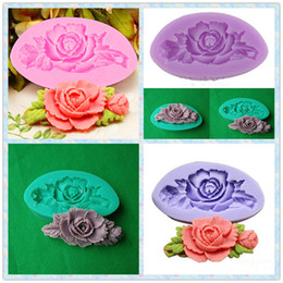 Wholesale Rose Cookie Mold - Wholesale- 2016 3D Rose Flower Silicone Fondant Mold Chocolate Cookie Soap Cutter Sugarcraft Cake Decorating Tools DIY Kitchen Baking Mould