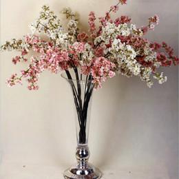 Fiori di pesca di seta online-Nuovi rami artificiali romantici da 39 pollici di Peach Cherry Blossom Fiori di seta Decorazione domestica di nozze Fiore