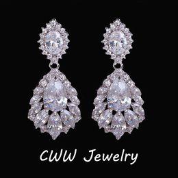 Wholesale Long Earrings Shape - Elegant Chandelier Shape AAA+ Cubic Zirconia Diamond Long Big Crystal Bridal Earrings For Wedding Jewelry (CZ202)