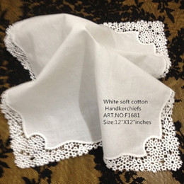 Wholesale Ladies Gift Sets Wholesale - Set of 12 Home Textiles White Ladies Handkerchief 12 inch Embroidered crochet lace edges hankies hankyFor Bridal Gifts