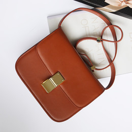 Wholesale Design For Ladies Leather Bags - Newest 2016 Design Small Flap Women Classical Box Bag Genuine Leather Handbags Ladies Cowhide Messenger Bag For Female